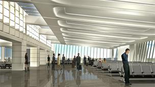 This is an architect's rendering of the interior of the proposed new terminal for Wichita Mid-Continent Airport.