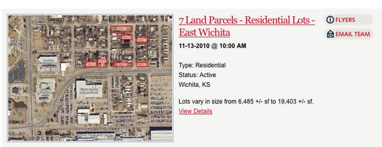 A screen shot from J.P. Weigand & Sons Inc.'s auction website, which shows a map of the Hawker Beechcraft residential lots up for auction.