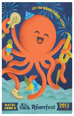 Wichita graphic artist Dustin Commer designed the 2013 Wichita Riverfest poster.