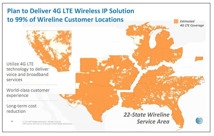 AT&T plans to expand availability of its 4G LTE network to cover areas indicated on this map, shown last week to investors and analysts.