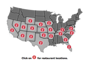 A map on the Freddy's Frozen Custard & Steakburgers website shows the company's current and planned locations.