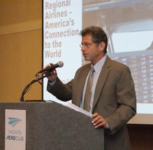 Roger Cohen, president of the Regional Airline Association, addressed the Wichita Aero Club on Tuesday.