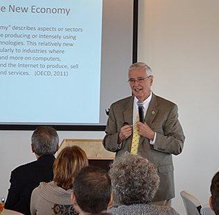 Wichita State University President John Bardo speaks Tuesday tomembers of the Wichita Independent Business Association.