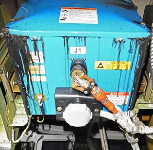 This photo shows the battery of the Boeing Co. 787 aircraft operated by All Nippon Airways Co. that made an emergency landing at Takamatsu airport on Jan. 16.