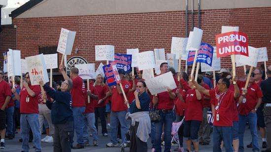 Machinists union members from Bombardier Learjet rallied in Old Town in October in advance of their vote to strike.