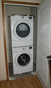 Units feature full-size washers and dryers.