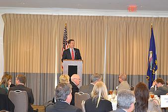 Gov. Sam Brownback addresses members of the Wichita Metro Chamber of Commerce during a luncheon Wednesday.