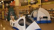Camping gear is a big deal in Cabela's. The green structure to the left? A latrine built for privacy.