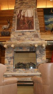 The store's lobby includes a massive fireplace and comfortable chairs. Expect a roaring fire in winter.