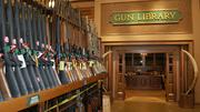 This isn't your typical library. Restored, collectible guns for sale abound inside.