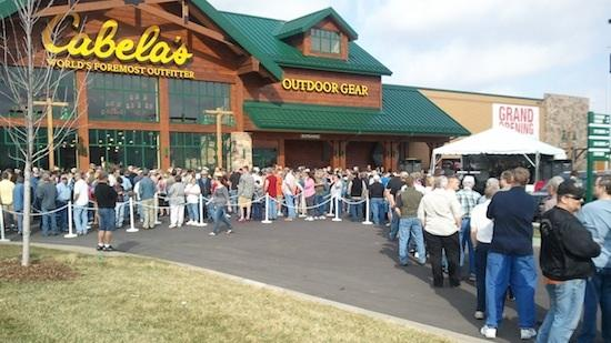 A crowd of thousands massed outside the new Cabela's store on Greenwich Road at K-96 before its grand opening Wednesday.