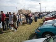 The line to get into Cabela's on Wednesday reached from the storefront toward Greenwich Road
