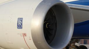 The 787 Dreamliner features a pair of massive Rolls Royce engines that propel it to a cruising speed of Mach 0.85.