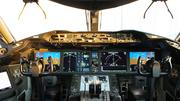 The cockpit of the 787 includes heads-up displays (HUDs) for both pilots.