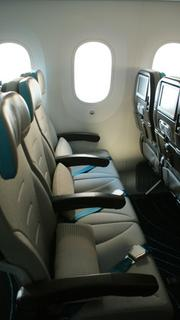 Coach seats in the 787 Dreamliner.