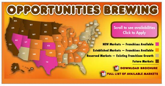 A map of states where Dunkin' Donuts is pushing new franchises.