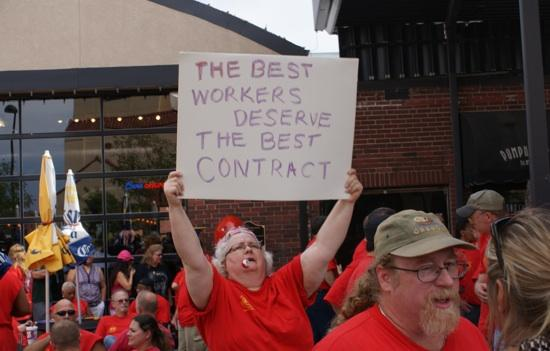 Machinists union members from Hawker Beechcraft Corp. rallied Friday afternoon in Old Town. They expect to get a final contract offer from the company as early as this weekend.