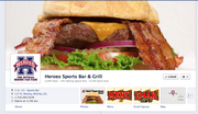 Heroes Sports Bar & Grill Why it's cool: Mouthwatering use of the cover photo space. If you didn't want a burger before, you do now.