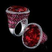A 30.16-carat rubelite ring.
