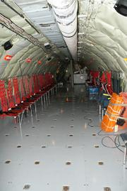 The upper fuselage area of the KC-135 contains room for passengers and cargo.