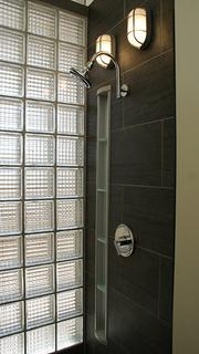 A stylish shower inside one of the units.