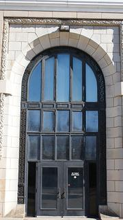 The impressive front entrance to Union Station on Douglas Avenue.
