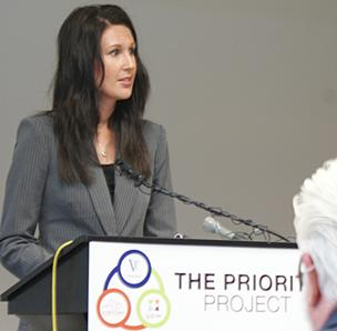 Sommer Keplar, a volunteer co-chair for Visioneering Wichita, speaks at a press conference in June about Priority Project, which used a survey to home in on three community priorities for the next three years.