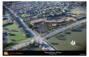 A digital rendering of the aerial view of Waterfront Plaza, planned for the northwest corner of 13th and Webb Road.