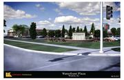 The view of Waterfront Plaza from the corner of 13th and Webb Road, looking northwest. This is a rendering from architect Law Kingdon.