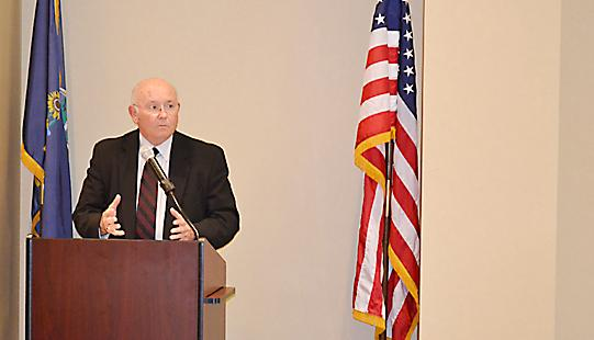 Don Beggs speaks at a lunch meeting of the Wichita Independent Business Association on Tuesday.