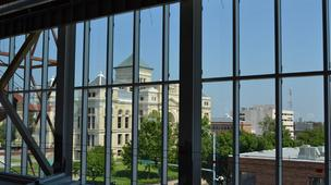 The top floor of the new downtown YMCA provides a view to a variety of buildings in the downtown area, including the historic county courthouse at 525 N. Main.