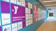 This wall highlights contributors to the Strong Kids Campaign.