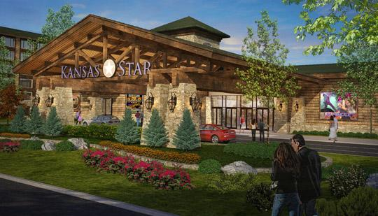 A rendering shows the permanent main entrance of the Kansas Star Casino, which is under construction in Mulvane.