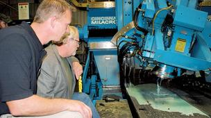 Don McGinty and Rick Connell work in shop at McGinty Machine Co.