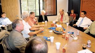 Nine Wichita leaders gathered at the Wichita Business Journal's Old Town offices June 24 for a discussion on downtown development.