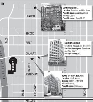 Map of downtown Wichita hotels