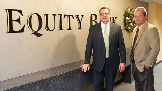 Brad Elliott, president and CEO of Equity Bank, left, and M. Drayton Alldritt, executive vice president at the bank, say the bank's commercial lending success has come through myriad factors, including stepping in to help companies whose banks couldn't or wouldn't revise credit terms as the economy tanked.