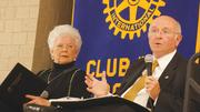 2001 — Faculty incentive program implemented to reward professors for positive faculty reviews. Pictured here, Beggs discussed the program at a recent Rotary Club meeting.