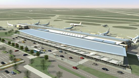 The new terminal at Wichita Mid-Continent Airport will be built immediately northwest of the existing terminal. It will have 12 gates sharing a single concourse.