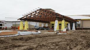 Kansas Star Casino is operating out of a temporary facility as work continues on construction of a permanent, larger casino.