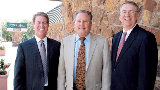 Roger Kepley, right, will take over as CEO of Rose Hill Bank after that institution is purchased by American State Bancshares Inc. of Great Bend. He is pictured with Rose Hill Bank CEO Rocky Waitt, left, and American State CEO Don LacKamp.