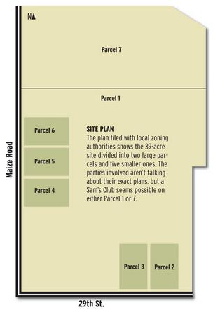 The plan filed with local zoning authorities shows the 39-acre site divided into two large parcels and five smaller ones. The parties involved aren't talking about their exact plans, but a Sam's Club seems possible on either Parcel 1 or 7.