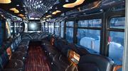The insides of the buses are designed to feel like that of a limousine with in-seat coolers and special LED lighting on the ceilings. The Spot's buses also include falt-screen TVs.