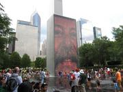 People cooling off in the Crown Fountain at Millenium Park this summer.