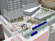 The streetcar station would transform the parking lot now owned by the city of Milwaukee.