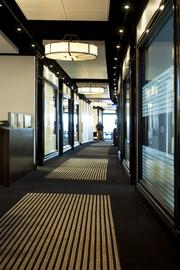 An interior hallway of the executive offices of Churchill Downs Inc. is shown above.