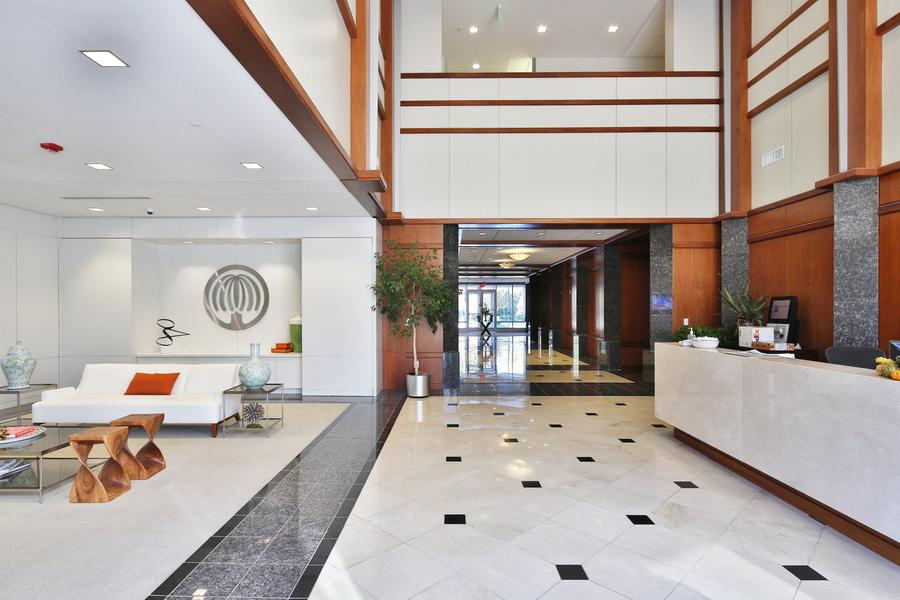 Employees and guests are greeted by this warm, modern reception area