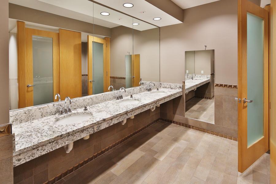 Crisp, clean restroom design