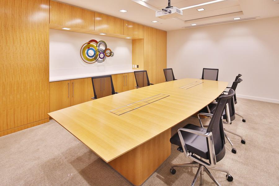 One of many small conference rooms in the building