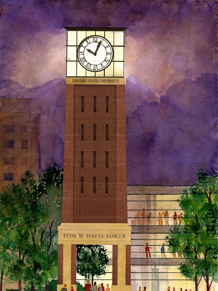 Ohio State Building Iconic Tom W Davis Clock Tower Near